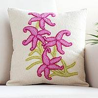 Wool cushion cover, 'Floral Detail' - Hand-Crocheted Embroidered Wool Cushion Cover from Peru