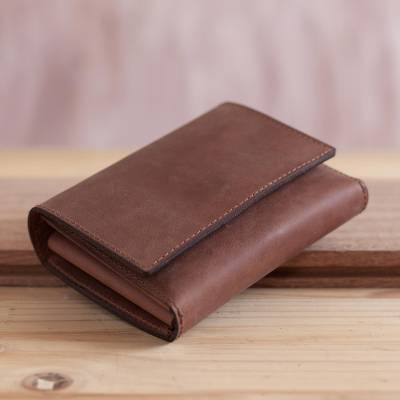 Leather passport wallet, 'Travel in Style' - Handmade Brown Leather Passport Wallet from Peru