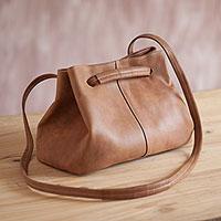 Leather shoulder bag, 'Stylish Sepia' - Handmade Leather Shoulder Bag in Sepia from Peru