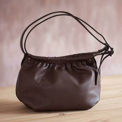 Leather hobo handbag, 'Divine Chestnut' - Handmade Leather Hobo Handbag in Chestnut from Peru