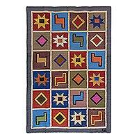 Wool area rug, 'Inca Sky' (4x5.5) - Handwoven Wool Area Rug with Geometric Inca Motifs (4x5.5)
