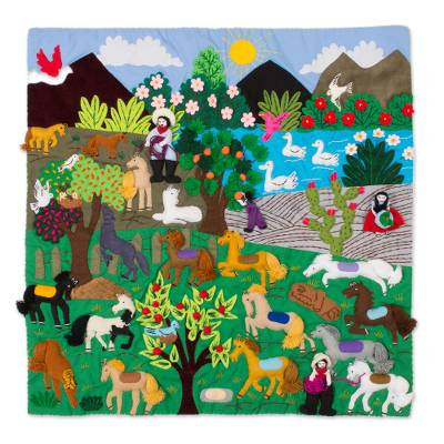 Horse-Themed Cotton Blend Patchwork Wall Hanging from Peru
