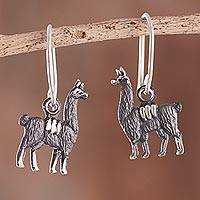 Sterling silver dangle earrings, 'Llama History' - Sterling Silver Llama Dangle Earrings from Peru