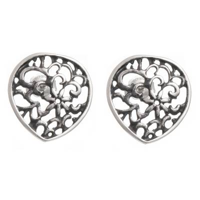 Dark Floral Sterling Silver Button Earrings from Peru