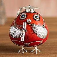Sterling silver and gourd figurine, 'Pride of Graduation' - Sterling Silver and Gourd Owl Figurine in Red from Peru