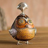 Sterling silver and gourd figurine, 'Sipan Governor in Brown' - Sterling Silver and Gourd Cultural Owl Figurine from Peru