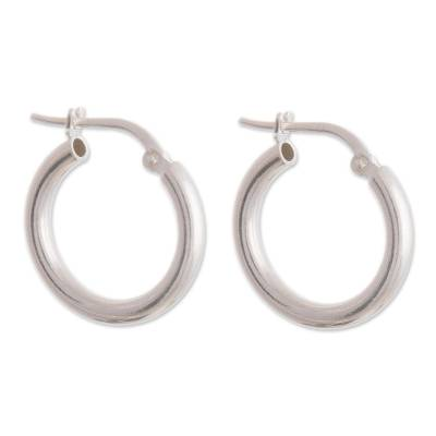 Sterling silver hoop earrings, 'Classic Gleam' - Sandblasted Sterling Silver Hoop Earrings from Peru