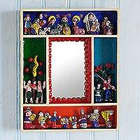Wood retablo wall mirror, 'Eden Reflection' - Wood Nativity Retablo Wall Mirror from Peru