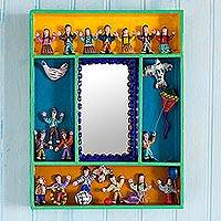 Wood retablo wall mirror, 'Children at Play'