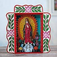 Wood retablo, 'Mary' - Handmade Wood Retablo of the Virgin Mary from Peru