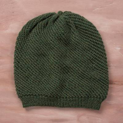 100% baby alpaca hat, 'Avocado Honeycomb' - 100% Baby Alpaca Hat in Avocado from Peru