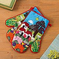 Cotton blend decorative oven mitts, 'Peruvian Country Home' (pair) - Cotton Blend Patchwork Decorative Oven Mitts (Pair)