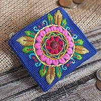 Alpaca blend coin purse, 'Fantastic Mandala' - Floral Embroidered Alpaca Blend Coin Purse in Blue