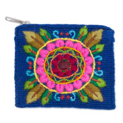 Floral Embroidered Alpaca Blend Coin Purse in Blue