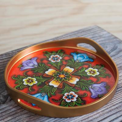 Reverse-painted glass tray, 'Tulip Beauty in Red' - Tulip Motif Reverse-Painted Glass Tray in Red from Peru