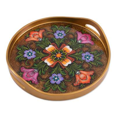 Reverse-Painted Glass Tray in Brown from Peru