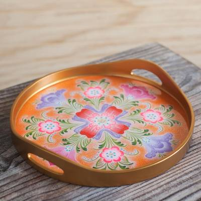 Reverse-painted glass tray, 'Lovely Tulips' - Reverse-Painted Glass Tray Crafted in Peru