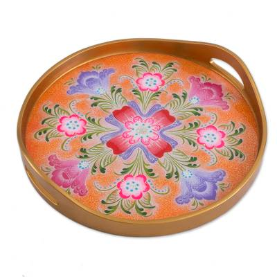 Reverse-Painted Glass Tray Crafted in Peru