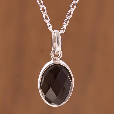 Obsidian pendant necklace, 'Lovely Facet' - Faceted Onyx Pendant Necklace from Peru