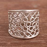 Sterling silver band ring, 'Vintage Infinity'