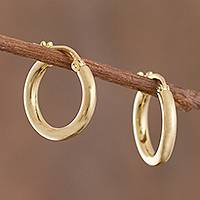 Gold plated sterling silver hoop earrings, 'Classic Sheen' - 18k Gold Plated Sterling Silver Hoop Earrings from Peru