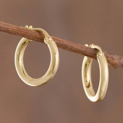 Gold plated sterling silver hoop earrings, Classic Sheen