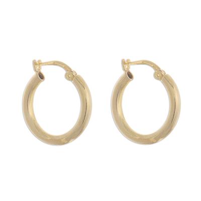 Gold plated sterling silver hoop earrings, 'Classic Sheen' - 18k Gold Plated Sterling Silver Hoop Earrings from Peru