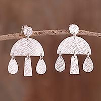 Sterling silver chandelier earrings, 'Modern Rain' - Modern Sterling Silver Chandelier Earrings from Peru