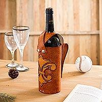 Leather wine carrier, 'Fleur de Lis' - Leather Fleur de Lis Wine Carrier from Peru