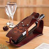 Leather wine carrier, 'Gothic Cross' - Leather Cross Motif Wine Carrier from Peru