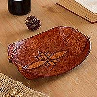 Leather catchall, 'Gothic Flower' - Handcrafted Leather Catchall from Peru