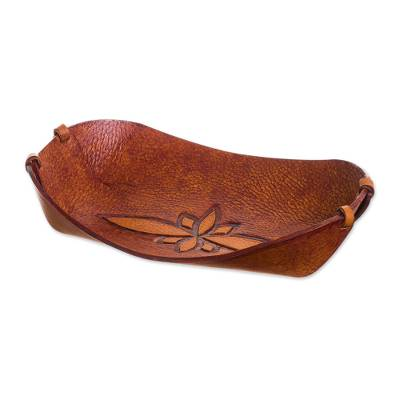 Handcrafted Leather Catchall from Peru