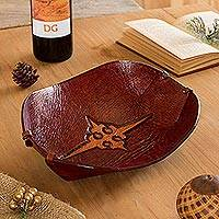 Leather catchall, 'Gothic Elegance'