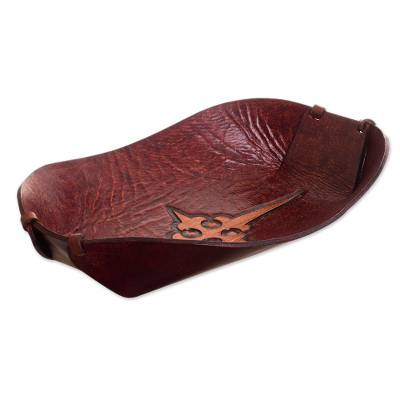 Leather catchall, 'Gothic Elegance' - Cross Pattern Leather Catchall from Peru
