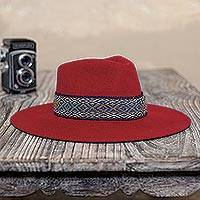 Alpaca and wool blend felt hat, 'Munay in Crimson' - Peruvian Alpaca and Wool Blend Felt Hat in Crimson