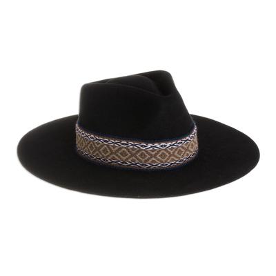 Peruvian Alpaca and Wool Blend Felt Hat in Black