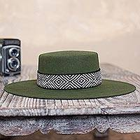 Alpaca and wool blend felt hat, 'Nawi in Olive' - Alpaca and Wool Blend Felt Hat in Olive from Peru