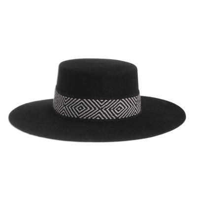 Alpaca and Wool Blend Felt Hat in Black from Peru