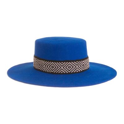 Alpaca and Wool Blend Felt Hat in Royal Blue from Peru