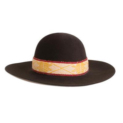 Round Alpaca and Wool Blend Felt Hat in Espresso from Peru