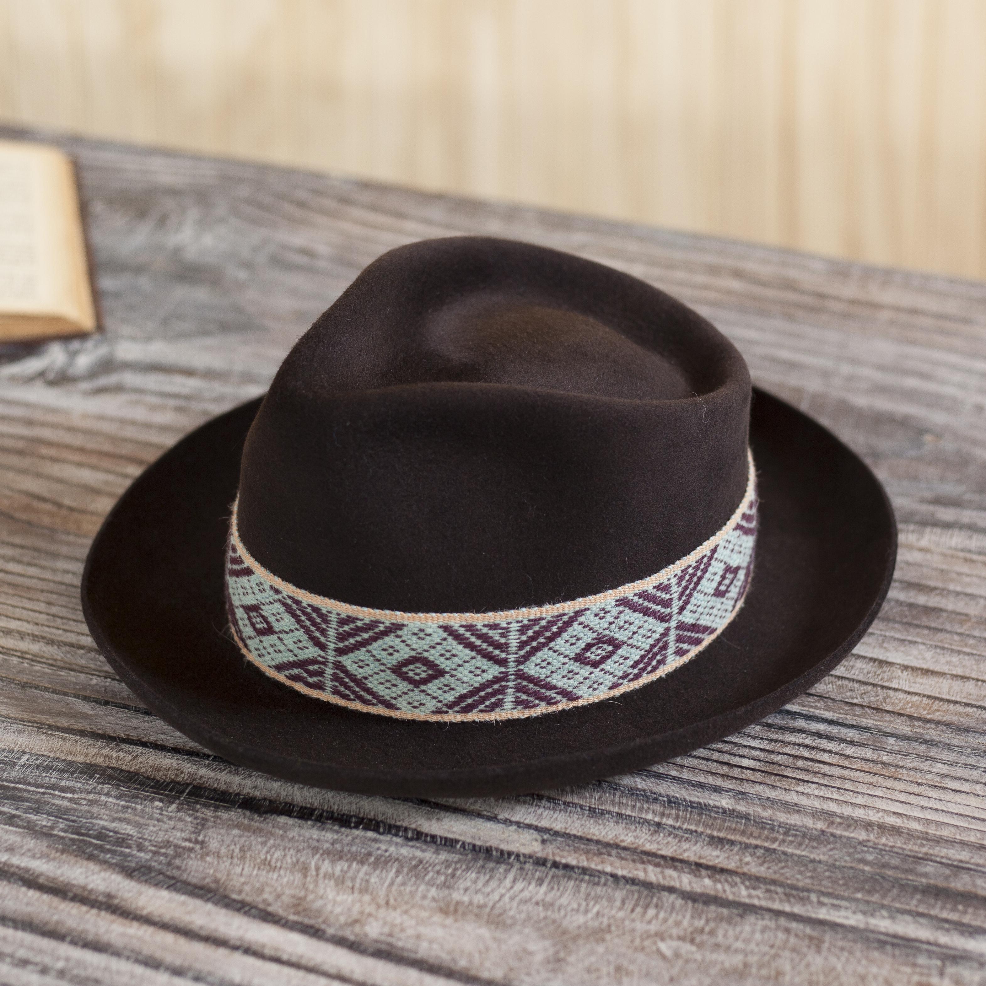 Espresso Alpaca and Felt Blend Hat with Handwoven Accent, 'Yaku in Espresso'