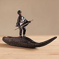 Mahogany wood sculpture, 'Caballito de Totora' - Hand-Carved Mahogany Sculpture of a Man on a Reed Boat