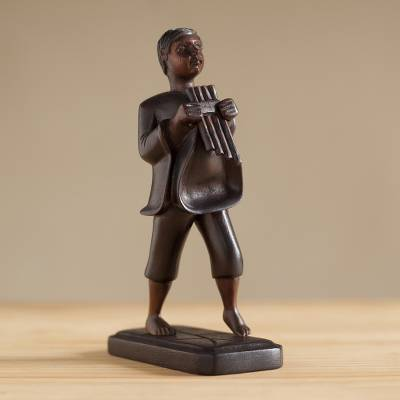 Mahogany wood sculpture, 'Music of the Andes' - Hand-Carved Mahogany Wood Sculpture of an Andean Musician