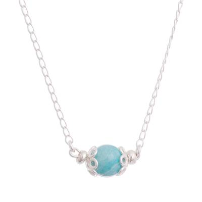 Amazonite pendant necklace, 'Magic Rings' - Amazonite Pendant Necklace Crafted in Peru