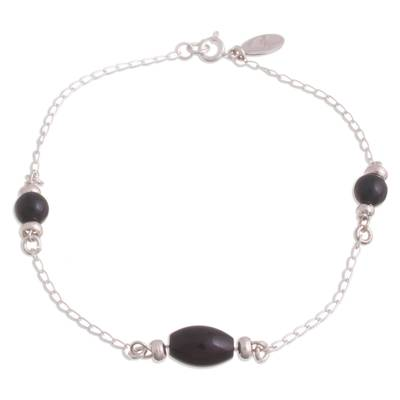 Natural Obsidian Station Anklet from Peru