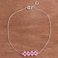 Sterling silver pendant anklet, 'Gleaming Beads in Blush' - Sterling Silver Pendant Anklet in Blush from Peru