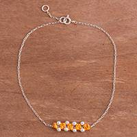 Sterling silver pendant anklet, 'Gleaming Beads in Ochre' - Sterling Silver Pendant Anklet in Ochre from Peru