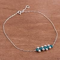 Sterling silver pendant anklet, 'Gleaming Beads in Turquoise' - Sterling Silver Pendant Anklet in Turquoise from Peru