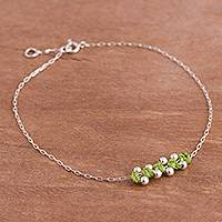 Sterling silver pendant anklet, 'Gleaming Beads in Avocado' - Sterling Silver Pendant Anklet in Avocado from Peru