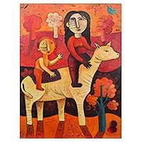 'Riding to Happiness' (2018) - Signed Cubist Painting of Two People on a Horse from Peru